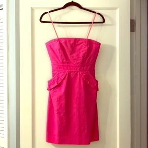 J.Crew Hot Pink Strapless Dress w/ Pockets Size 0